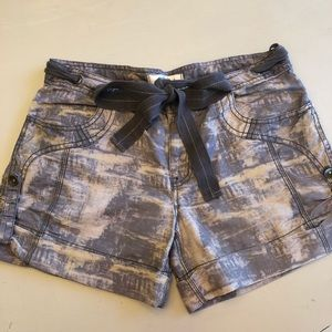 Free People grey/ taupe tie-dye tie front shorts